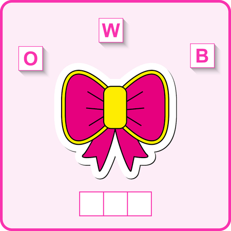 worksheet for preschool kids. Words puzzle educational game for children. Place the letters in the right order.