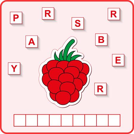 feuille de calcul pour les enfants d'âge préscolaire. Jeu éducatif de puzzle de mots pour les enfants. Placez les lettres dans le bon ordre.