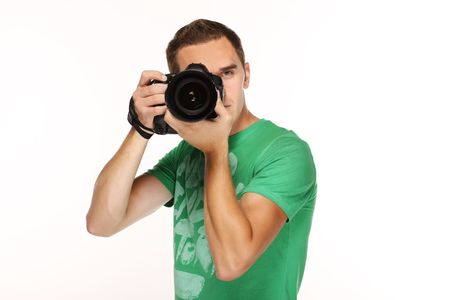 Young man with camera.