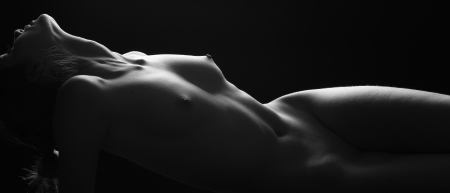 naked black woman: beauty of nudity light and shadow Stock Photo