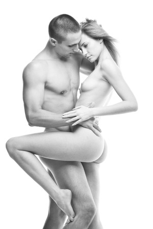 nude young woman: black and white photo of nude sexy couple in love