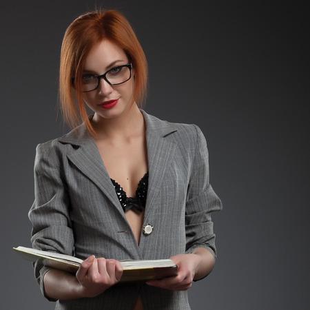 Beautiful women with book. Sexy teacher.