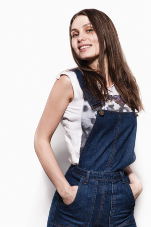 beautiful young happy smiling woman model in casual cloth