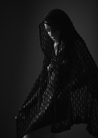 sexy woman in black and white Foto de archivo