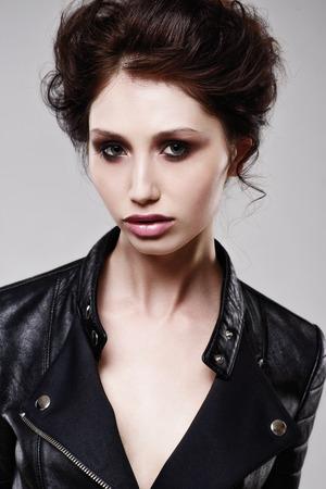 Portrait of beautiful sensual woman, close-up. Studio shot. Foto de archivo