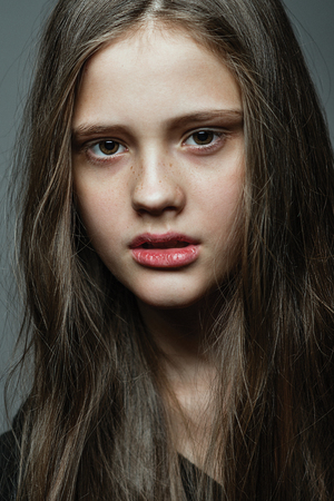Close-up face portrait of young girl without make-up. Natural image without retouching . Foto de archivo