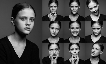 collage of emotional portraits of young girls without make-up