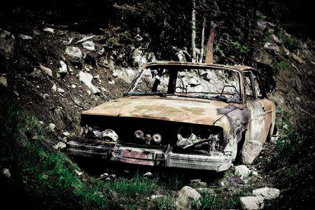 oxidado: coche oxidada creativa  Foto de archivo