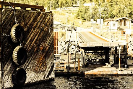 swimm: ferry landing stage in mountain lake 10 Stock Photo