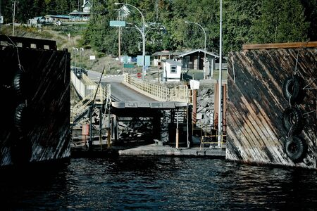 swimm: ferry landing stage in mountain lake 5 Stock Photo