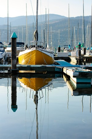 lakeview: an yellow boat in the small country bay 1