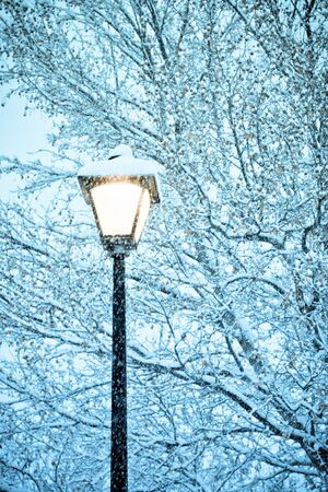 winter road: gorgeous snow grains and winter street light Stock Photo