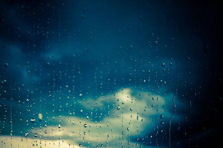 Rain drops on a window, close-up