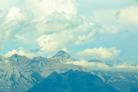 Canadian rocky mountains, blue sky and clouds photo