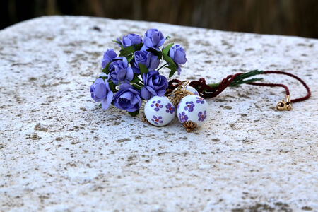 pendent: Artisanal Sicilian ceramic pendent and the bunch of violet paper roses