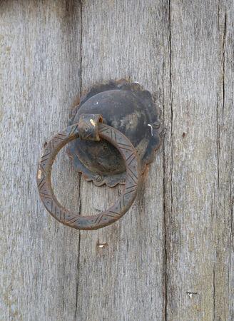 doorknob on the old wooden tunisian door - background