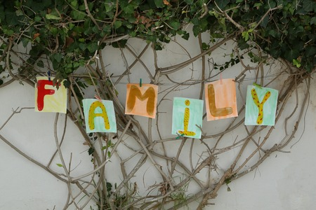 Word  FAMILY  painted on the paper A4 format and attached to the branches of the tree