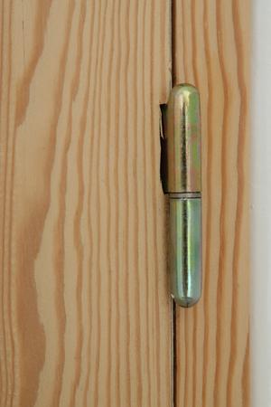 hinge: Door hinge of handmade wooden door Stock Photo