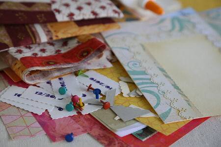 brads: Scrapbooking supplies and accessories for preparing a handmade photoalbum