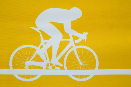Cyclist on the bicycle.Yellow background. Illustration