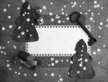 Winter holiday background in black and white photo