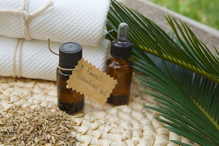 foeniculum: A bottle of fennel essential oil. Fennel grains in the background Stock Photo