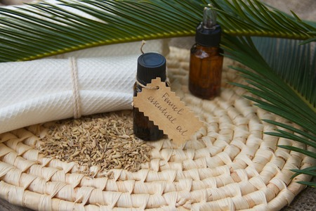 spasmodic: A dropper bottle  of cardamom essential oil. Fennel grains in the background