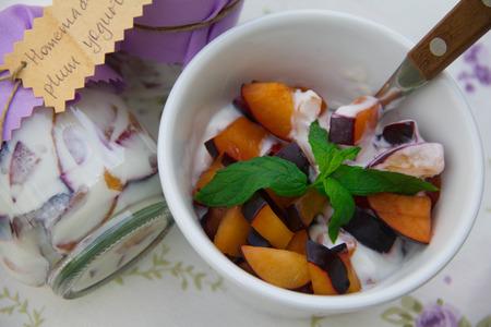 dessert plate: Un piatto da dessert di yogurt fatto in casa con prugne