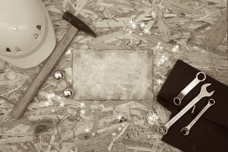 reparations: Felicitaciones de vacaciones de invierno para los hombres que se ocupan de las reparaciones. Foto de archivo