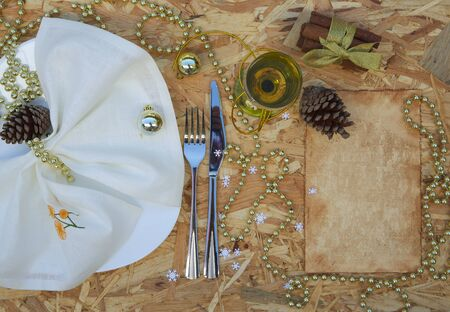 perls: A part of festive table. Top view background