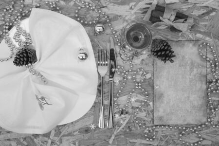 perls: A part of festive table. Top view. Background. Black and white