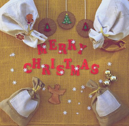 Christmas background with inscription Merry Christmas photo