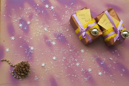 new years day: Presents for New Years Day - violet-yellow colors