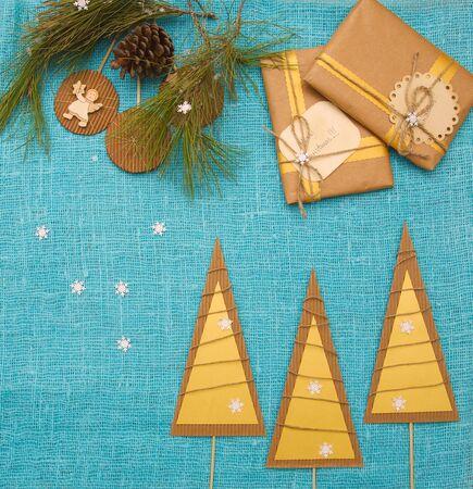 Winter holiday background on  decorative sackcloth photo