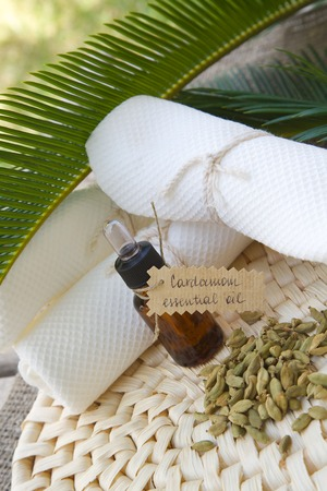 limonene: A dropper bottle of cardamom essential oil.Cardamom berries in the background