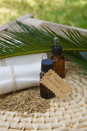 spasmodic: A dropper bottle of fennel essential oil
