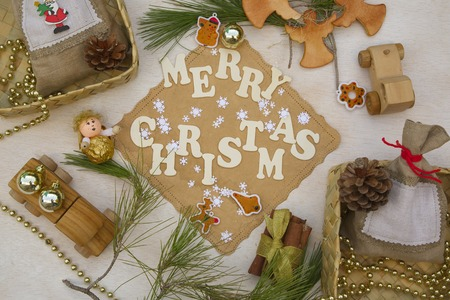 Christmas background for children with inscription: Merry Christmas photo