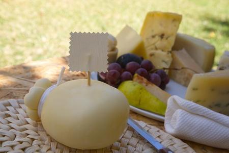 woven surface: Caciocavallo de quesos italianos en la superficie tejida con una etiqueta. Espacio libre de un texto
