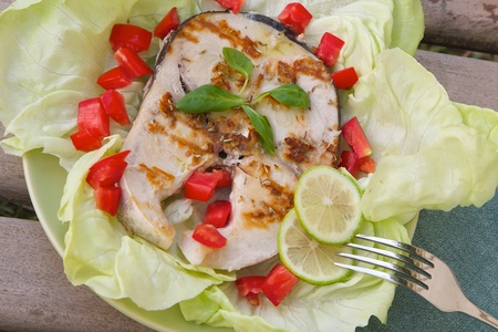 protein source: Light dinner- grilled swordfish with fresh salad leaves and vegetables. Top view