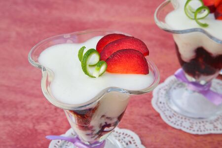 ricotta cheese: Milk dessert - sweet ricotta cheese with plums - in a glass dessert bowl.