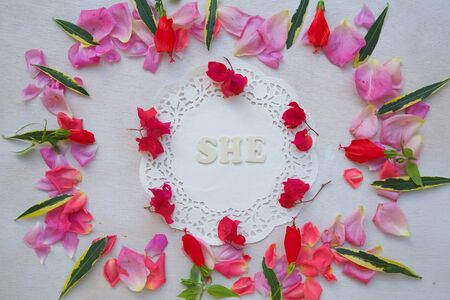 she: Flowers composition with the word SHE - background.