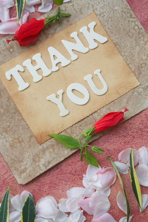 The words THANK YOU on an old carton paper. photo