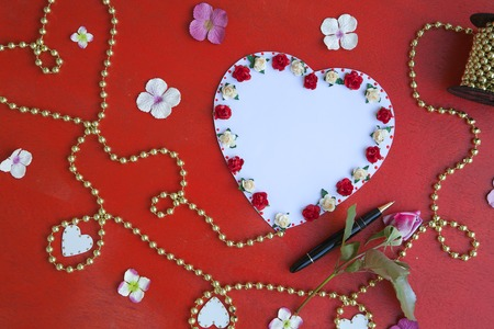perls: Romantic Valentines Day Date tips. Free space for a text. Stock Photo