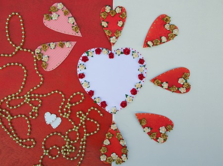perls: Valentines Day background in white and red colors. Free space for a text
