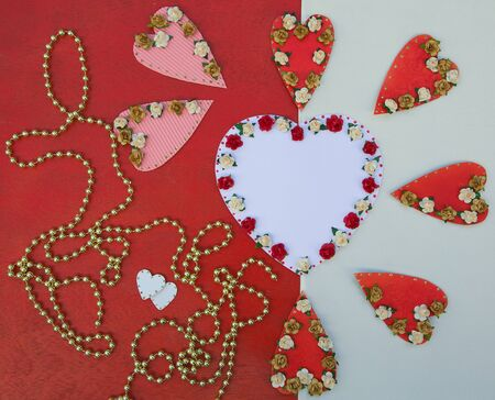 perls: Valentines Background in white and red. Free space for a text.