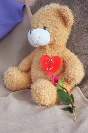 repaired: Repaired broken red heart on the chest of Teddy bear. Free space for a text