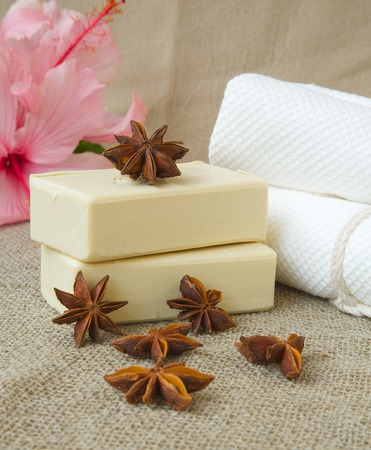 antirheumatic: Soap with star anise oil. Star anise fruits in the background