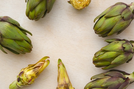 text free space: Artichoke flower buds- background. Free space for a text