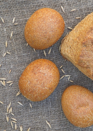 glycemic: Whole grain rolls on a sackcloth. Top view Stock Photo