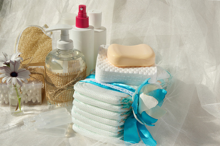 physiological: Hygiene set for a baby: liquid soap,cotton sticks,shower,diapers,cosmetic discs,soap,gel,lotion,antiseptic,physiological liquid.